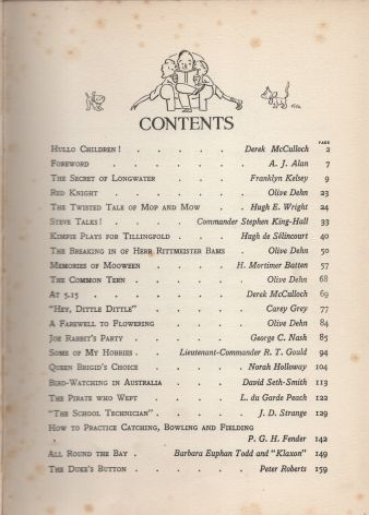 Children's Hour Annual 1936, Contents Page