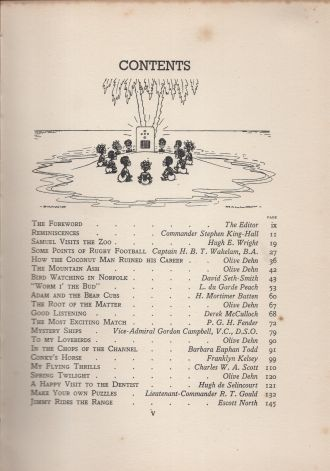 Children's Hour Annual 1937, Contents Page